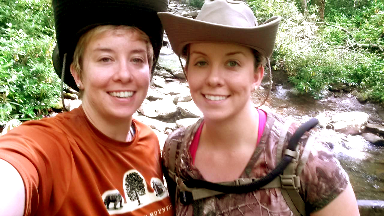 Dr. Laura Schnegg (right) vacationed in the Smoky Mountains with her family growing up. Here, she is pictured with her twin sister, Dr. Amy Schnegg, OD, who is an optometrist in San Antonio, Texas. Both remain avid hikers.