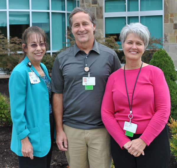 LeConte's Cardio-pulmonary rehab team of Patty Suggs, RN; Jay Jordan, RRT; and Jane Moore, RN, are pictured outside the Dolly Parton Center for Women's Services where LeConte's Cardiopulmonary Rehab is located.