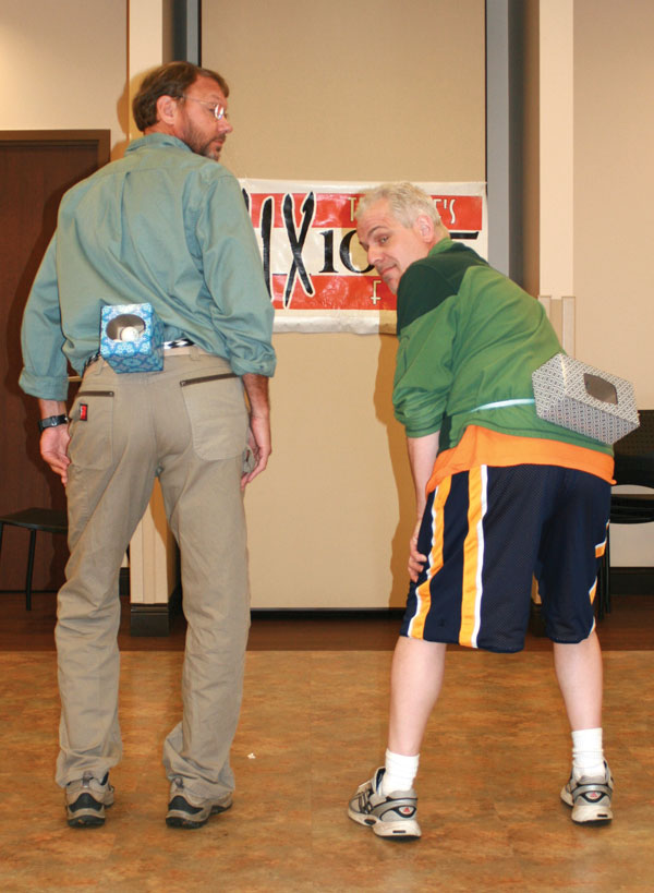 """Mix 104.5's morning stars Jay Adams and Steve Hartford have plenty of """"Junk in the Trunk!"""" See who can shake, rattle and roll those ping pong balls out of their trunks the fastest at Denim & Diamonds on March 18."""