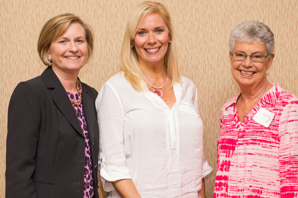 Jenny Hanson, left, LeConte Medical Center president and chief administrative officer, is pictured with Leanne Morgan and Paint the Mountains Pink committee co-chair Emily Kile.
