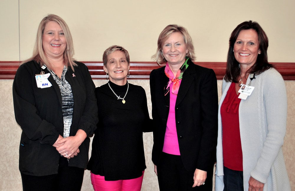 LeConte Medical Center chief nursing officer Jennifer DeBow, comedienne Karen Mills, chief administrative officer Jenny Hanson, and chief financial officer Jackie Hounshell pause for a quick photo after the celebratory luncheon.