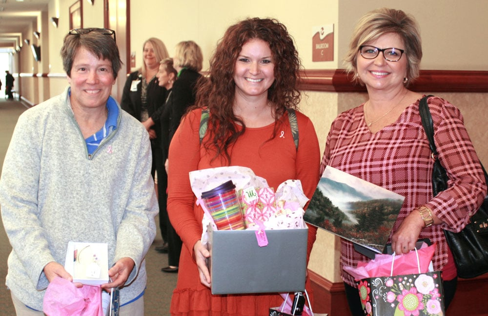 Many of the guests and breast cancer survivors won fun door prizes that were donated for the event.