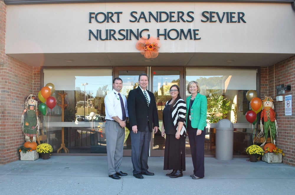 Pictured left to right are Michael Hatmaker, LeConte vice president of support services and nursing home administrator; Mike Belbeck, Covenant Health executive vice president of operations; Holly White, nursing home director of nursing; and Jenny Hanson, chief administrative officer of LeConte Medical Center.