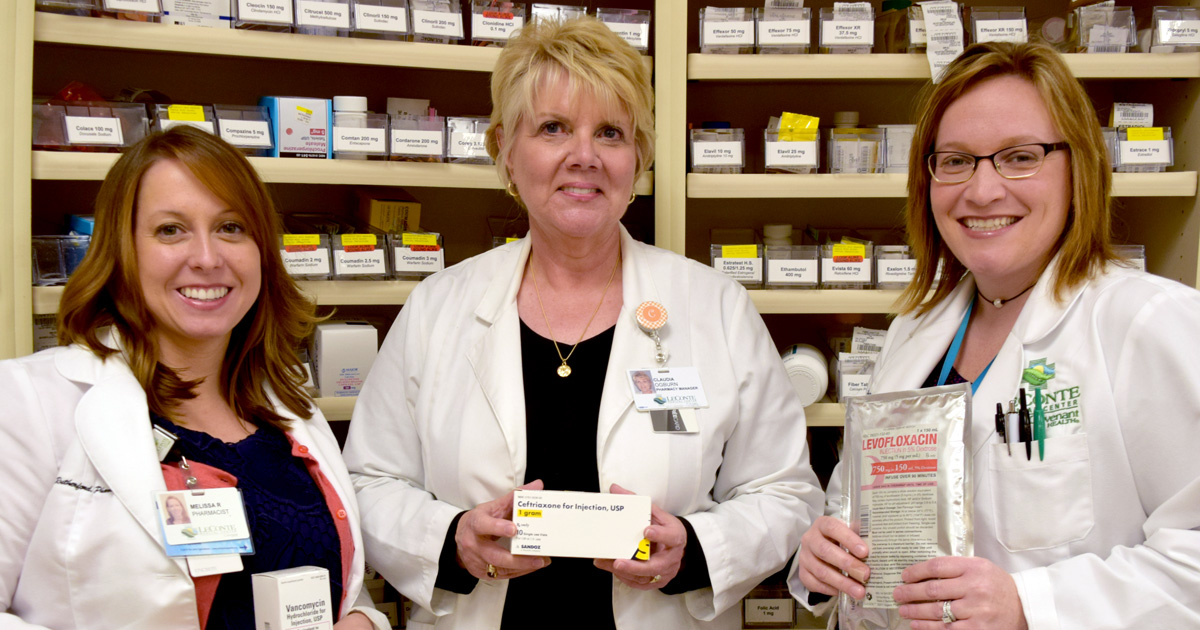 LeConte Medical Center clinical pharmacist Missy Rutherford, pharmcacy manager Claudia Ogburn and clinical pharmacist Julie Masterson (L-R) are helping lead Covenant Health's initiatives to assure appropriate use of antibiotics. Masterson and Rutherford have completed advanced training related to antibiotic resistance.
