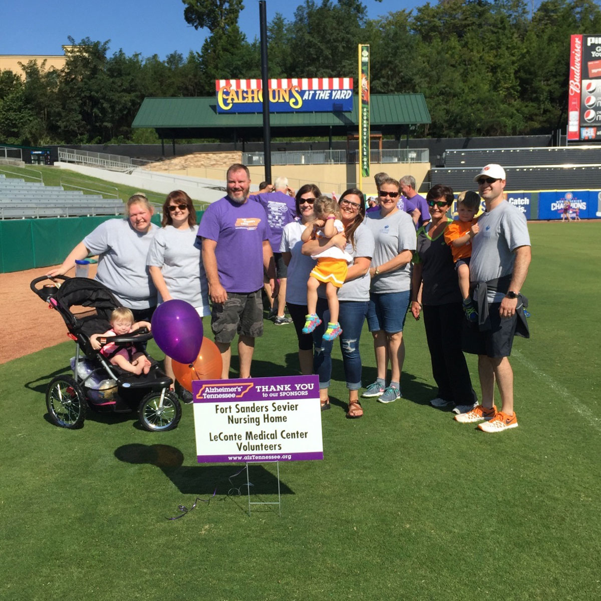 LeConte Medical Center and Fort Sanders Sevier Nursing Home employees and volunteers participated in the Smoky Mountain Alzheimer's Walk on Saturday, September 16th at Smokies Stadium.